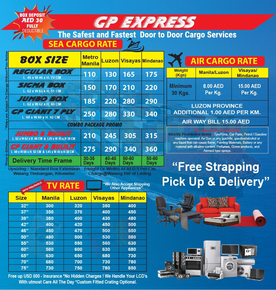 GP EXPRESS CARGO :: OUR RATES - GP EXPRESS CARGO